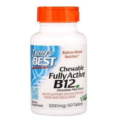 完全活性ビタミンB12配合チュアブル、チョコレートミント、1000mcg、60錠