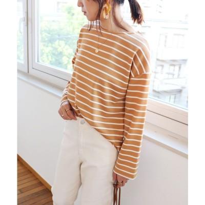 アンドミー and Me ポンチ長袖オーバーサイズTシャツ トップス (ベージュ×オフホワイト)