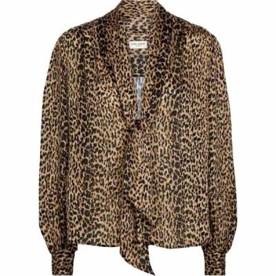 イヴ サンローラン Saint Laurent レディース ブラウス・シャツ トップス Leopard-print silk blouse Leopard