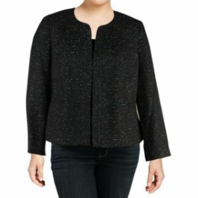 Nine West ナインウエスト ファッション 衣類 Nine West NEW Black Women Size 10 Open-Front Sequin Tweed Jacket