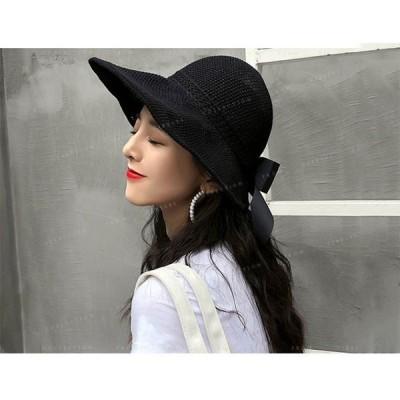 帽子レディースハット日よけ帽子折りたたみ帽子折たたみuvカット可愛いリボン付き