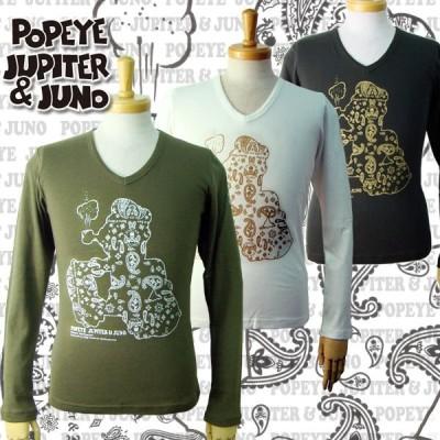 POPEYE × Jupiter & Juno(ポパイ×ジュピターアンドジュノ) Paisley Bandanna Print Popeye L/S Tee(ペイズリーバンダナプリント ポパイ L/S Tシャツ)