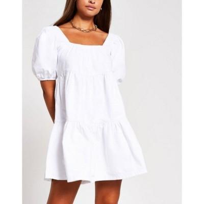 リバーアイランド レディース ワンピース トップス River Island puff sleeve smock tiered mini dress in white