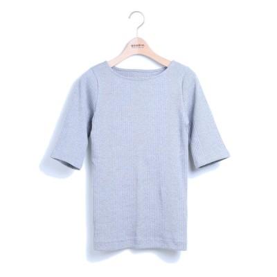 tシャツ Tシャツ 丸胴針抜きフライス5分袖ボートネックtee