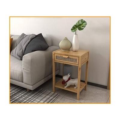 [新品]COZAYH Modern Minimalism Nightstand End Table Side Table with Woven Pattern Drawer and Shelf Storage, Rustic Farmhouse Style, Na
