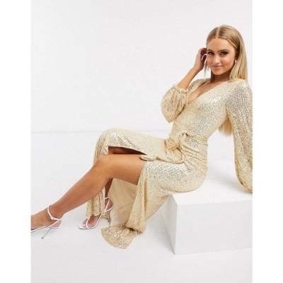 クラブエル ロンドン Club L London レディース ワンピース マキシ丈 ワンピース・ドレス Club L sequin plunge maxi dress with split in gold ゴールド