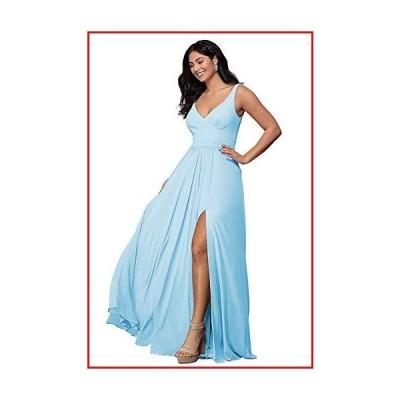 【新品】V Neck Bridesmaid Dresses Split Long A Line Pleated Sleeveless Wedding Prom Dress Womens Sky Blue Size 6【並行輸入品】