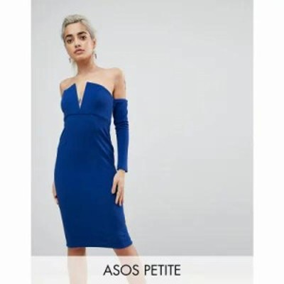 エイソス ワンピース ASOS PETITE V Bar Bardot Textured Midi Dress Cobalt
