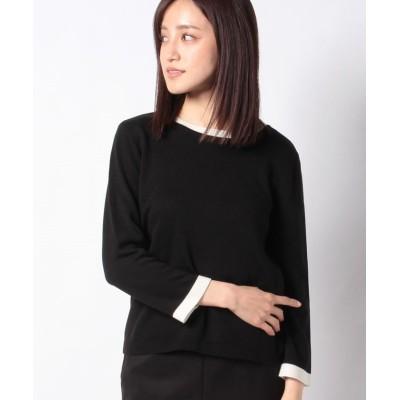【レリアン】 配色切替セ-タ- レディース ブラック 9 Leilian