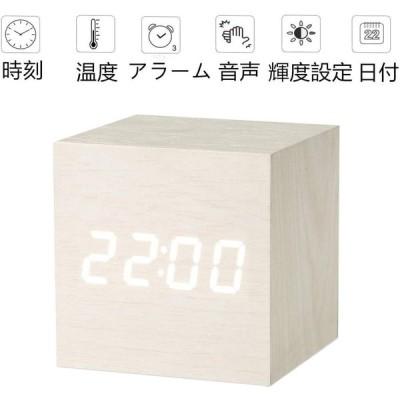 置き時計 置時計 デジタル おしゃれ 北欧 木目調 アンティーク 時計 クロック 目覚まし時計 デジタル時計 アラーム時計 卓上 アラーム 日付 温度