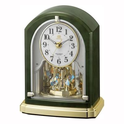 メロディ 置き時計 電波時計 8RN403HG05 リズム時計 連続秒針 スヌーズ RHYTHM 置時計 取り寄せ品