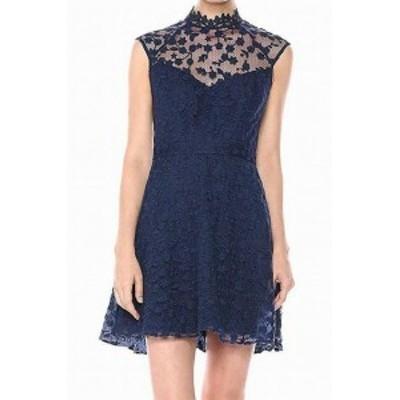 BB Dakota BB ダコタ ファッション ドレス BB Dakota NEW Blue Womens Size 2 Lace Mock-Neck Illusion Sheath Dress