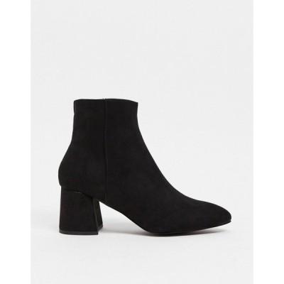 シュー Schuh レディース ブーツ ショートブーツ シューズ・靴 schuh Becky mid heeled ankle boot in black suedette