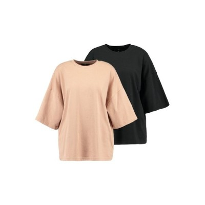 ミスガイデッド Tシャツ レディース トップス DROP SHOULDER OVERSIZED 2 PACK - Basic T-shirt - camel/black