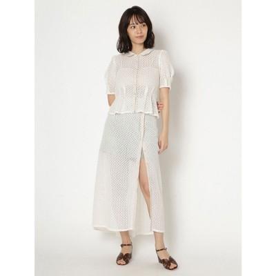 リリーブラウン Lily Brown ショートパンツ付き透かしスカート (オフホワイト)
