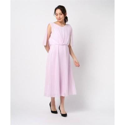 ドレス ケーププリーツドレス 結婚式/二次会/お呼ばれワンピース/婚活
