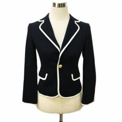 【中古】ストロベリーフィールズ ジャケット テーラード シングル 長袖 紺 白 ネイビー ホワイト 〇