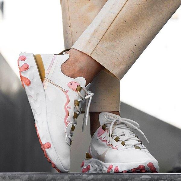 NIKE【BQ2728-007】REACT  ELEMENT 55 休閒運動鞋 慢跑鞋 米白粉 女款