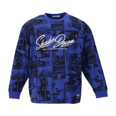 天竺フォト総柄プリント長袖Tシャツ 大きいサイズ メンズ RIMASTER  ロイヤルブルー