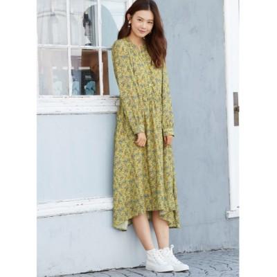 大きいサイズ イレギュラーヘム花柄ワンピース ,スマイルランド, ワンピース, plus size dress
