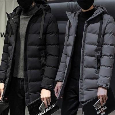 ダウンジャケット メンズ 中綿ジャケット ロング丈 ダウンコート キルティング 無地 防寒 軽量 フード付き ブルゾン 厚手アウ