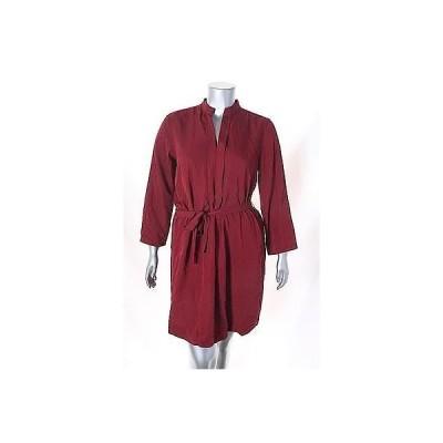 スタジオ エム ドレス ワンピース フォーマル Studio M ダーク レッド Roll Tab スリーブ Solid Shirt ドレス サイズ S 98LAFO