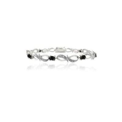 シルバースペック ジェムストーン 925 スターリング シルバー Sapphire & ダイヤモンド アクセント Swirl Infinity ブレスレット