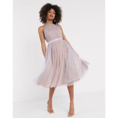 アナヤ ミディドレス レディース Anaya With Love tulle halterneck dress with contrast stripe in multi エイソス ASOS マルチカラー