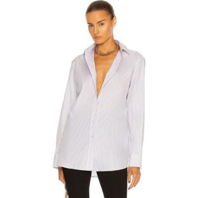 イヴ サンローラン Saint Laurent レディース ブラウス・シャツ トップス Oversize Cotton Poplin Shirt Blanc/Noir