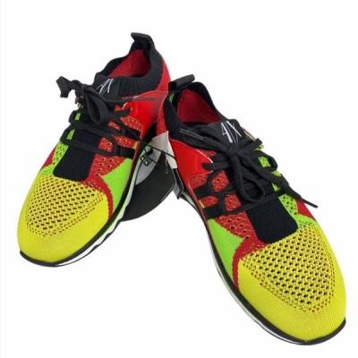 【未使用美品】ARMANI アルマーニ エクスチェンジ スニーカー 靴 シューズ メッシュ レッド イエロー [サイズ 7M  (約26cm)]