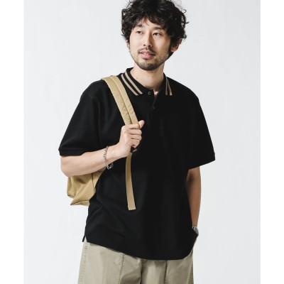 ラインリブカノコポロシャツ ブラック