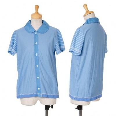 トリコ コムデギャルソンtricot COMME des GARCONS 丸襟製品染め半袖ブラウス 青S 【レディース】