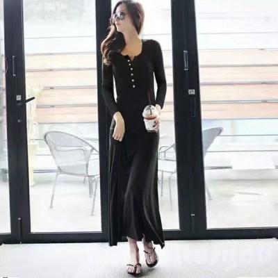 マキシワンピース長袖セクシー韓国ファッション大きいサイズ2L3Lデート通勤オフィス