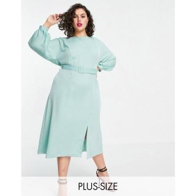 クローゼットロンドン Closet London Plus レディース ワンピース ミドル丈 ワンピース・ドレス belted midi dress in sage green セージグリーン