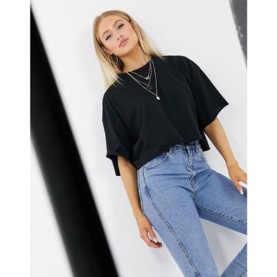 エイソス ASOS DESIGN レディース ベアトップ・チューブトップ・クロップド トップス Boxy Crop T-Shirt With Raw Edge In Black ブラック