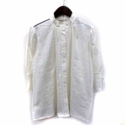 【中古】ツモリチサト シャツ ブラウス チュニック 七分袖 刺繍 レース 2 白 オフホワイト /YI レディース