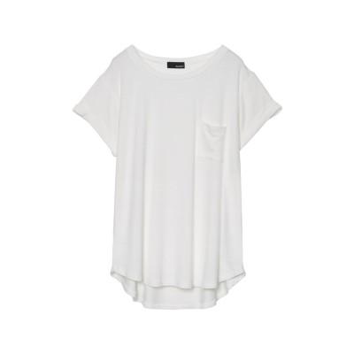 リエディ Re:EDIT [涼感][お家で洗える]オーバーサイズロールアップポケットTシャツ (ホワイト)
