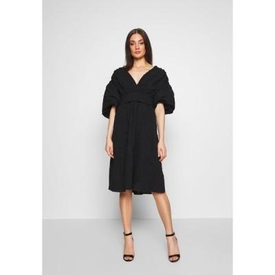 ロストインク ワンピース レディース トップス VOLUME SLEEVE SKIRTED DRESS - Day dress - black