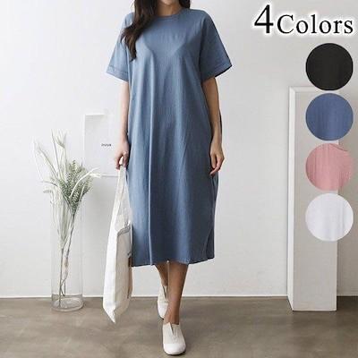 Tシャツワンピース ロールアップ半袖 サイドスリット ゆったり シンプル ピンク 白 春夏 ポケット ロングチュニック レディース 大きいサイズ ドレス 韓国