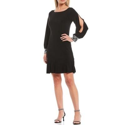マリーナ レディース ワンピース トップス Long Split Sleeve Beaded A-line Dress Black