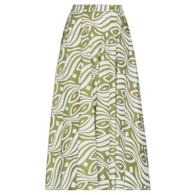 NIU 七分丈スカート  レディースファッション  ボトムス  スカート  ロング、マキシ丈スカート ミリタリーグリーン