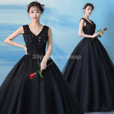 ロングドレス 黒 ブラック ウェディングドレス Vネック 演奏会 結婚式 お洒落 ノースリーブ 編み上げ 花嫁 ドレス 結婚式 贅沢 チュール