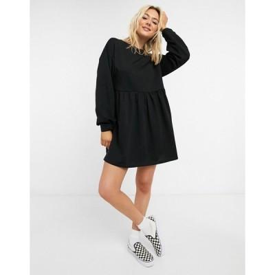 エイソス レディース ワンピース トップス ASOS DESIGN mini sweatshirt smock dress in black Black