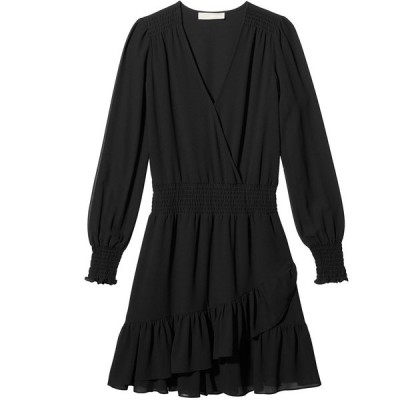 マイケルコース ワンピース トップス レディース Ruffled Faux-Wrap Dress Black