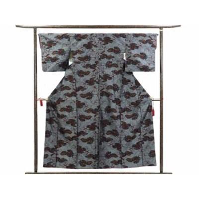 【中古】リサイクル紬 / 正絹グレー地袷真綿紬着物未着用品 / レディース(古着 中古 紬 リサイクル品)