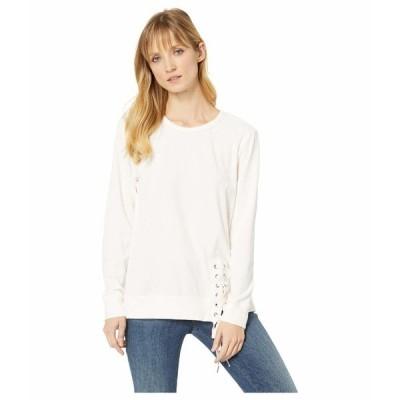 モッドドック パーカー・スウェットシャツ アウター レディース Velour Sweatshirt with Asymmetrical Lace-Up Camellia