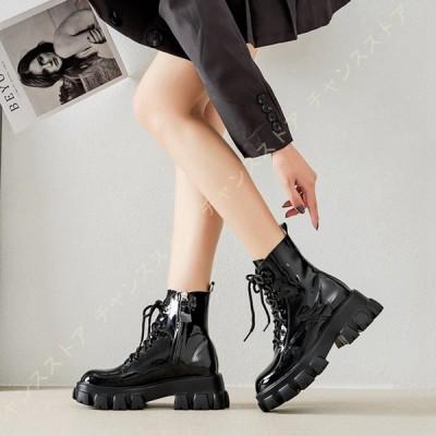 ブーツ レディース 厚底 エナメル 編み上げブーツ サイドジッパー レースアップ 黒 ボア シンプル コスプレ 太ヒール 6cm 柔らかい 美脚 レースアップブーツ