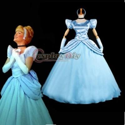 高品質 高級コスプレ衣装 ディズニー シンデレラ 風 ドレス dress オーダーメイド Costume Blue Princess Cinderella Dress Ver.2