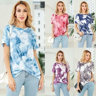 Tシャツ レディース おしゃれ 半袖 ドレープ グラデーション 春 夏 コットン Tシャツ ゆったり サマー トップス カットソー 大きいサイズ 女性 30代きれいめ