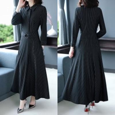 ワンピース ドレス ロング丈 マキシ丈 ストライプ フレア 大きいサイズ 2-3XL #3129